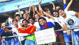 Fans during a match between India and the US in New Delhi, India