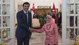Emir meets President of Singapore, discusses ties