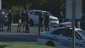 Police at the business park in Harford County, Maryland, after the shooting.