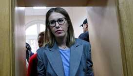 Russian TV personality Ksenia Sobchak arrives for a trial of Russian theatre director Kirill Serebre
