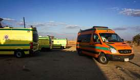 Ambulances parked in the desert towards the Bahariya oasis in Egypt's Western desert,