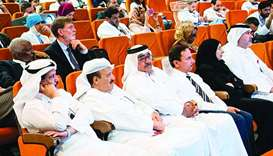 HE Dr Hanan Mohamed al- Kuwari, the Minister of Public Health, along with Dr Abdulla al-Ansari and o