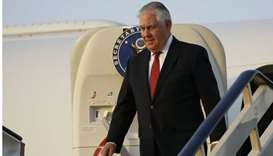 US Secretary of State Rex Tillerson steps off his plane as he arrives at King Salman Air Base