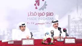 Qatar Chamber chairman Sheikh Khalifa bin Jassim al-Thani is joined by Qatar Chamber director genera