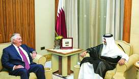 His Highness the Emir Sheikh Tamim bin Hamad al-Thani meets with US Secretary of State Rex Tillerson