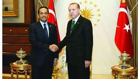 Turkish President Recep Tayyip Erdogan with HE the Foreign Minister of Qatar Sheikh Mohamed bin Abdu