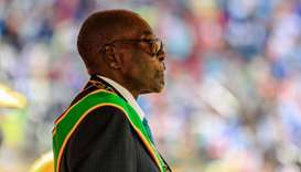Robert Mugabe reviewing the guard of honour during the country's 37th Independence Day celebrations