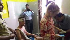 The Swiss couple  getting treatment at a hospital in Delhi