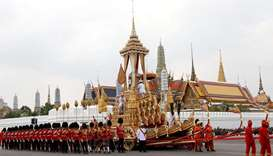 The Great Victory Chariot carrying the urn with the body of late King Bhumibol Adulyadej