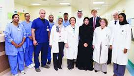 HE the Minister of Public Health Dr Hanan Mohamed al-Kuwari with the NCCCR team