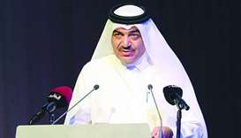 HE the Minister of Municipality and Environment Mohamed bin Abdullah al-Rumaihi speaking at the even