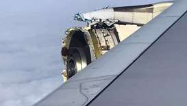 The damaged engine of an Air France A380 superjumbo