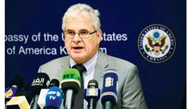 Top US envoy in Khartoum, Charge D'affaires Steven Koutsis, speaks during a press conference at the