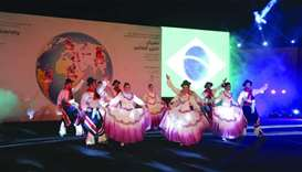 "The Brazilian ""Aldeia dos Anjos"" performs on stage"