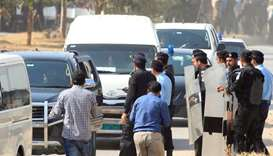 A vehicle carrying Muhammad Safdar arrives at National Accountability Bureau (NAB)