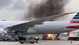 Fire breaks out near passenger jet at Hong Kong airport
