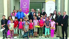Some of the children who received school supplies from Qatar Charity in Tunisia.
