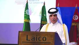 HE the Minister of State for Foreign Affairs Sultan bin Saad al-Muraikhi speaking at an event.