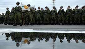 Japan's Self-Defense Force soldiers attend the military review at the Ground Self-Defence Force's in