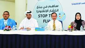 The officials at the press conference to announce the launch of flu vaccination