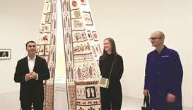From left: Abdellah Karroum, Laura Barlow and Hendrik Folkerts showcasing the embroideries made by M