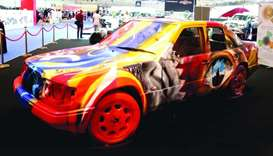 One of the vehicles painted by Qatari artist Mubarak al-Malki