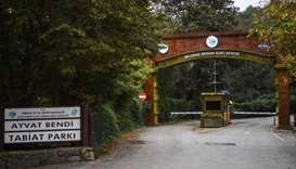 The main gate of Istanbul's Belgrade forest which was searched by Turkish police investigating the d