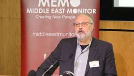 Jamal Khashoggi speaks at an event hosted by Middle East Monitor in London Britain on September 29.
