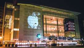 An image of Saudi journalist Jamal Khashoggi was projected on the text of the First Amendment at the