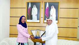 HE the Minister of Education and Higher Education Dr Mohamed bin Abdul Wahed Ali al-Hammadi with his