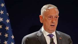 US Secretary of Defense James Mattis attends a news conference at the Defence Ministry in Paris