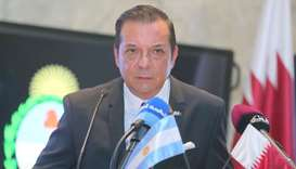 Argentinian ambassador Carlos Hernandez at a press conference  at Katara