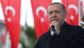 Turkish President Tayyip Erdogan speaks during a ceremony in Istanbul yesterday. Reuters