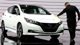 2019 Nissan Leaf hybrid car is displayed at an Auto Show