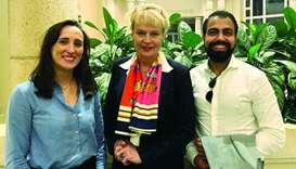 Swedish ambassador Ewa Polano (centre) flanks UBI Global founder and CEO Ali Amin and senior project