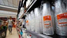 Plastic cups are seen at a Pingo Doce supermarket in Lisbon