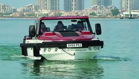 Amphibious vehicles demo at Katara Beach