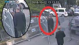 A still image taken from CCTV video claims to show Saudi journalist Jamal Khashoggi, highlighted in
