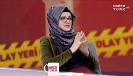 Hatice Cengiz, fiancee of slain Saudi journalist Jamal Khashoggi, during an interview with Turkish b