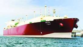 Nakilat's flagship Q-Max LNG carrier Mozah berthed at a terminal