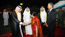 India's Minister for External Affairs Sushma Swaraj, on an official visit to Qatar, was received at