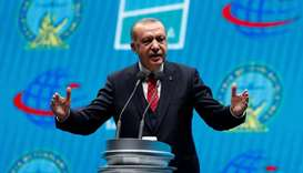 Turkey's President Tayyip Erdogan attends the official opening ceremony of Istanbul's new airport, i
