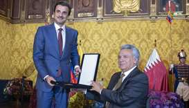 His Highness the Amir Sheikh Tamim bin Hamad Al-Thani presented with the National Order of Merit by