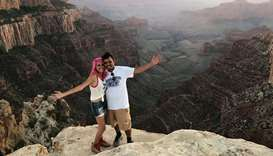 Vishnu Viswanath (R) and Meenakshi Moorthy at North Rim Grand Canyon, Cape Royal Point.