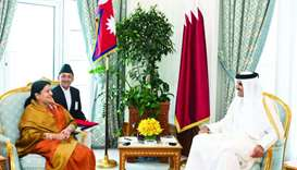 His Highness the Amir Sheikh Tamim bin Hamad al-Thani held a session of official talks with Nepal's