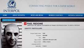 Paris showing the international wanted person notice for Redoine Faid