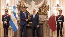 His Highness the Amir Sheikh Tamim bin Hamad al-Thani shakes hands with President Mauricio Macri