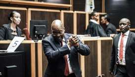 Former South African President Jacob Zuma is pictured at the High Court, where he is seeking a perma