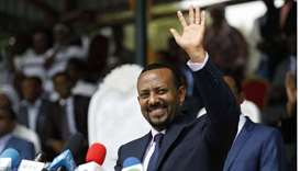 In this file photo taken on April 11, 2018 New Ethiopian Prime Minister Abiy Ahmed waves during his