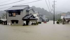 Heavy rains caused by Typhoon Hagibis flood a residential area in Ise, central Japan